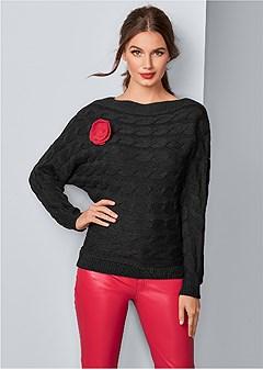 rose applique sweater