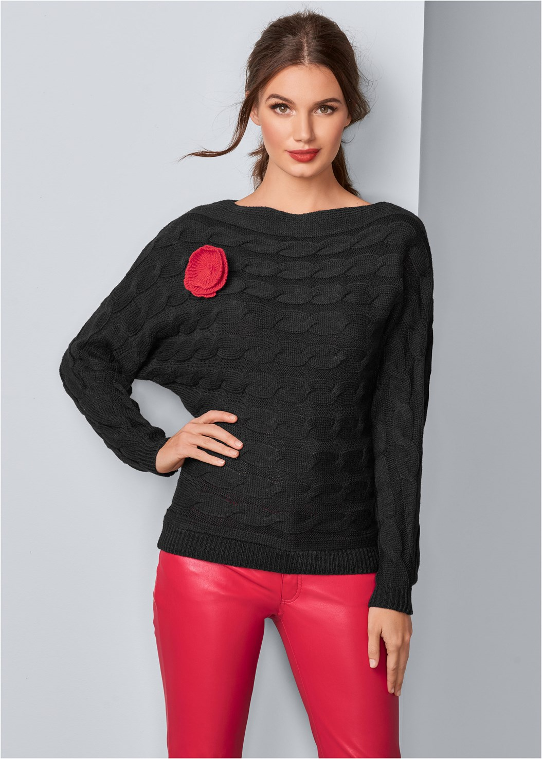 Rose Applique Sweater,Faux Leather Pants