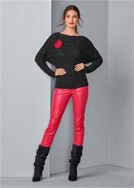 Alternate View Rose Applique Sweater