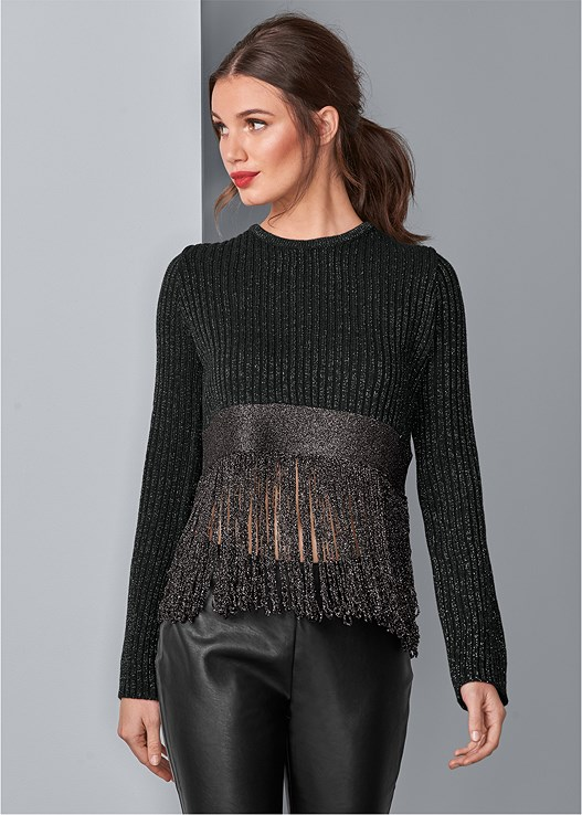 LUREX FRINGE SWEATER,EMBELLISHED MULES