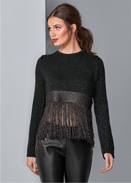Front View Lurex Fringe Sweater