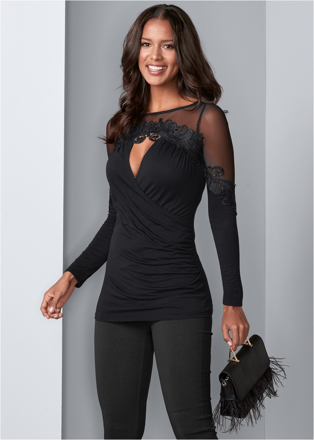 Mesh Detail Surplice Top,Mid Rise Slimming Stretch Jeggings,Cupid Backless U Plunge Bra,Faux Feather Handbag,Fringe Scarf