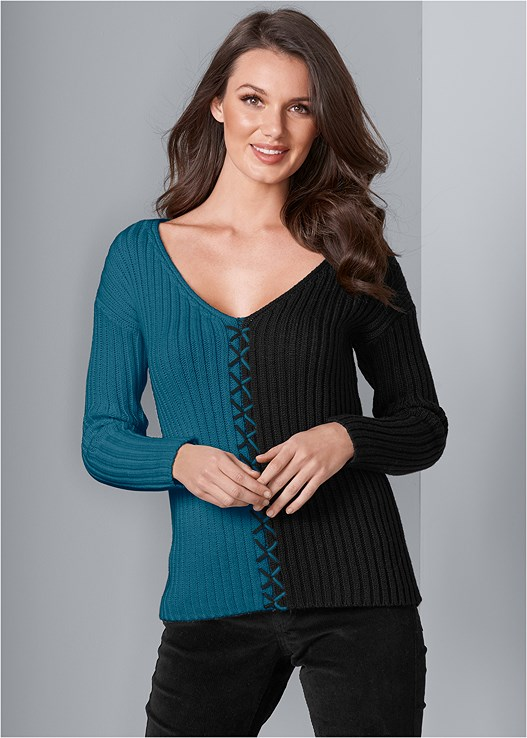 COLOR BLOCK SWEATER,ZIPPER DETAIL CORDUROY,SMOOTH LONGLINE PUSH UP BRA