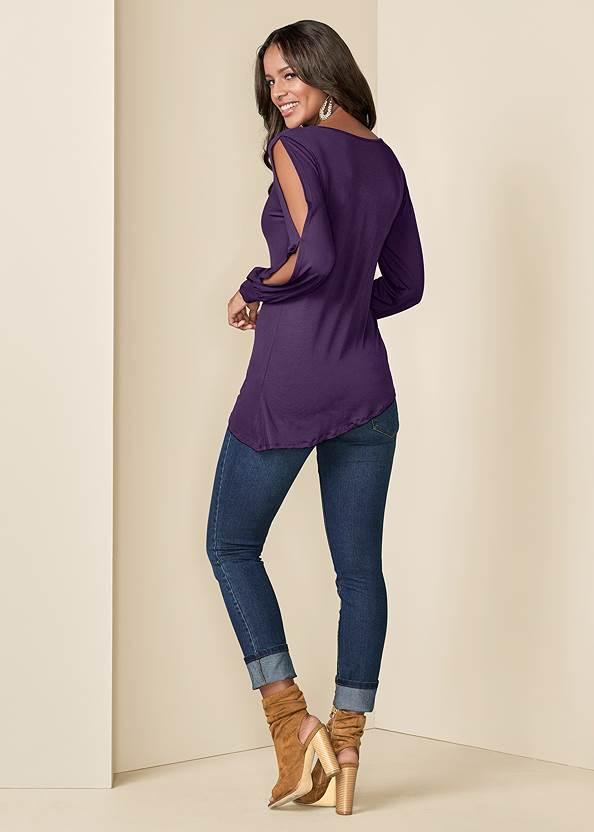 Back View V-Neck Cold Shoulder Top