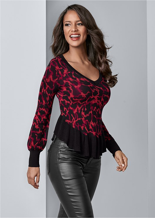 LEOPARD PRINT SWEATER,FAUX LEATHER PANTS,BRA WITH A HEART,RUFFLE DETAIL BOOTS,BAUBLE HOOP EARRINGS