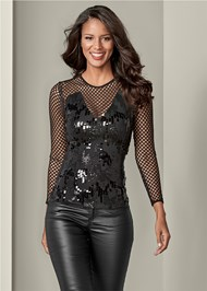 Front View Sequin Detail Mesh Top