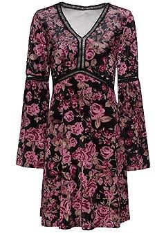 plus size floral velvet dress