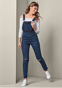 two-toned distress overalls