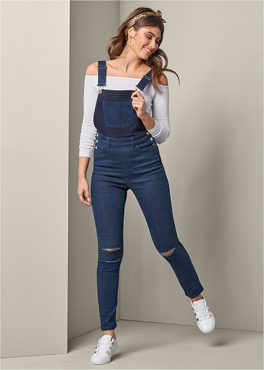 TWO-TONED DISTRESS OVERALLS,OFF THE SHOULDER TOP,HOOP DETAIL EARRINGS