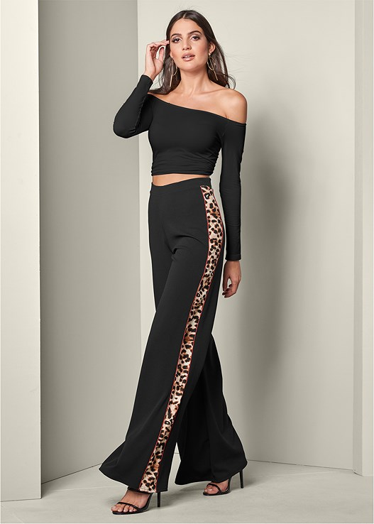 WIDE LEG LEOPARD TRIM PANT,OFF THE SHOULDER TOP,HIGH HEEL STRAPPY SANDALS,HOOP DETAIL EARRINGS