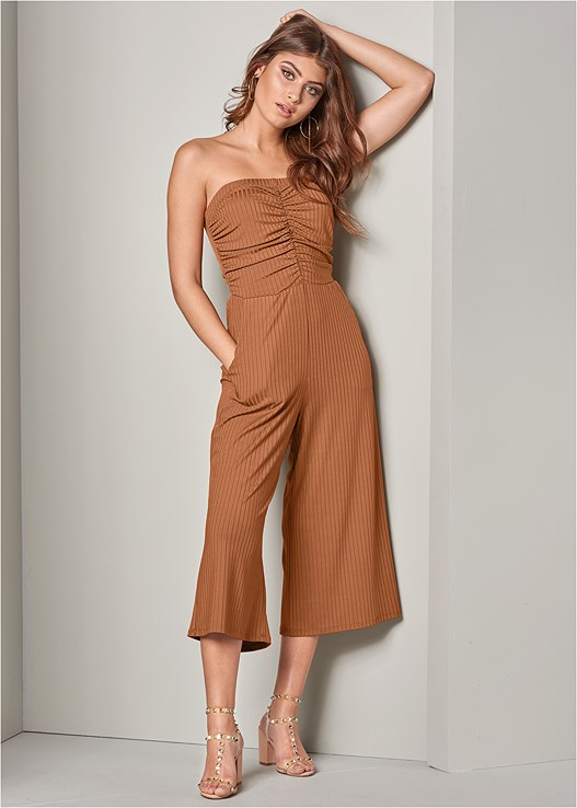 RUCHED RIB JUMPSUIT