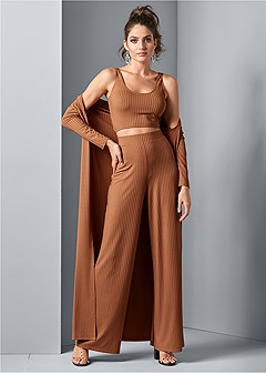 ribbed wide leg pant