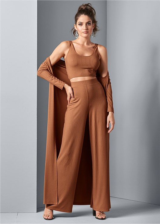 RIBBED WIDE LEG PANT,RIBBED BRALETTE,RIBBED CARDIGAN