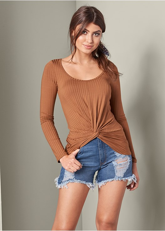 ae6cfe85b8a36 Orange KNOT FRONT RIBBED TOP from VENUS