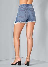 Back View Distressed Jean Shorts