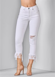 Front View Frayed Ripped Jeans