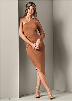 asymmetrical ribbed dress