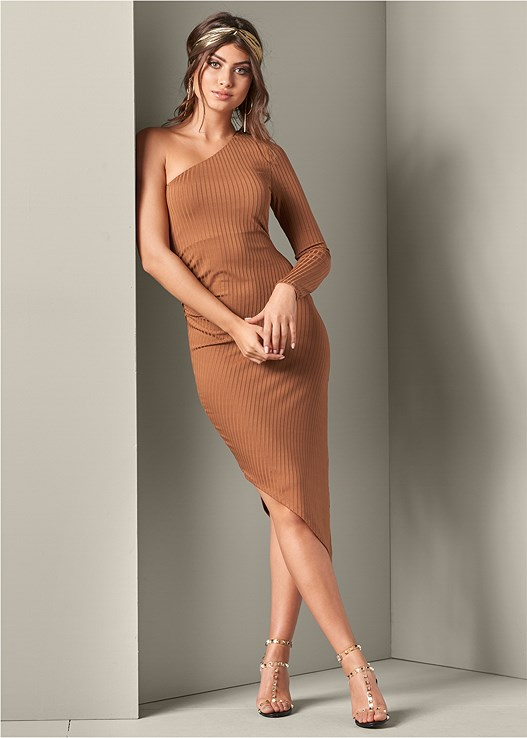 ASYMMETRICAL RIBBED DRESS,TRANSPARENT STUDDED HEEL,HOOP DETAIL EARRINGS