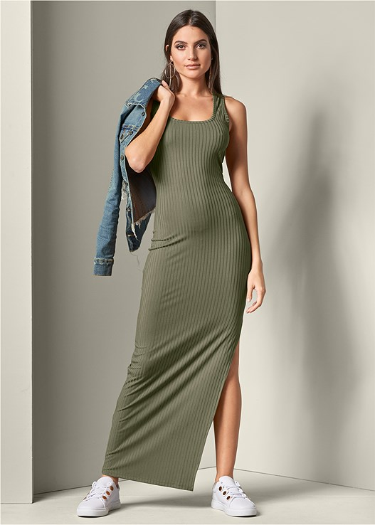 66dc7efdea3 RIBBED TANK MAXI DRESS in Olive