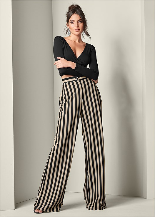 HIGH WAISTED STRIPE PANT,HIGH HEEL STRAPPY SANDALS