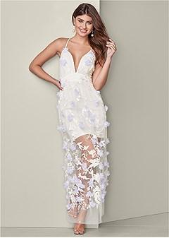 3d floral long dress