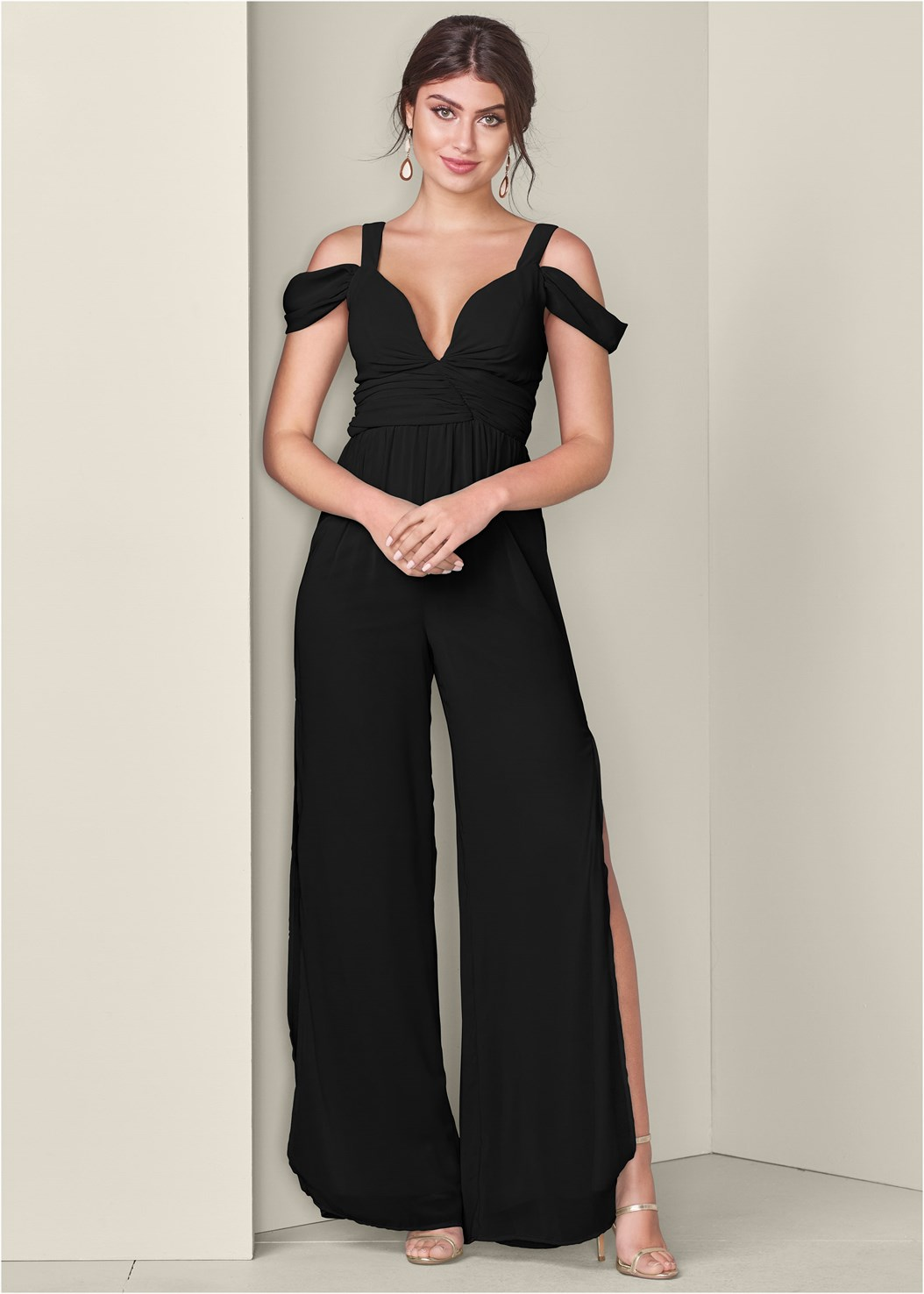 Cold Shoulder Jumpsuit,Cupid U Plunge Bra,High Heel Strappy Sandals