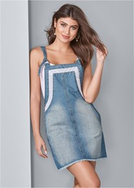 Front View Lace Trim Denim Dress
