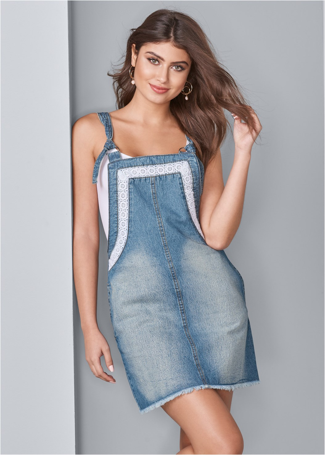 Lace Trim Denim Dress,Basic Cami Two Pack