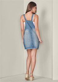 Back View Lace Trim Denim Dress