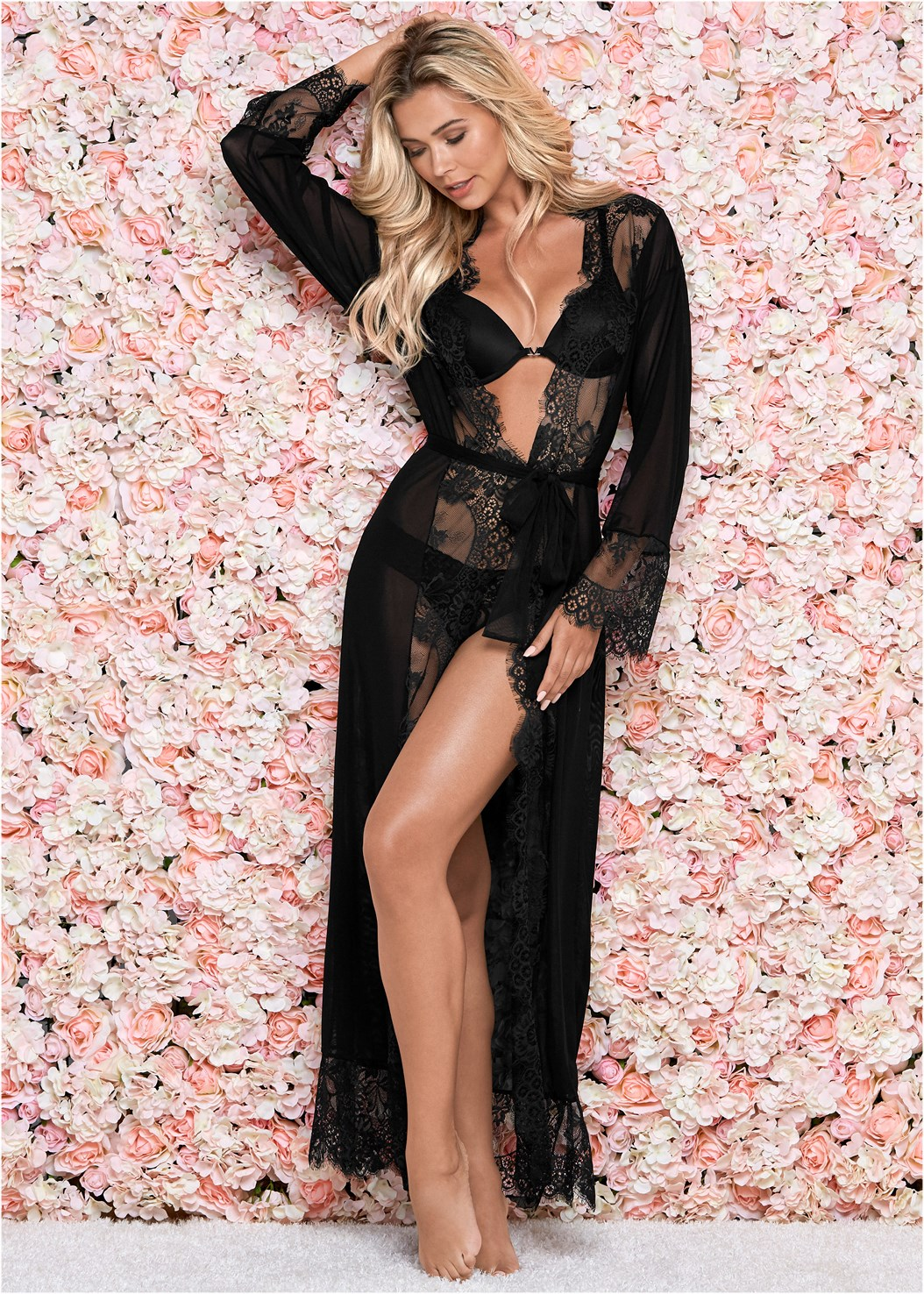 Mesh Robe With Lace Trim