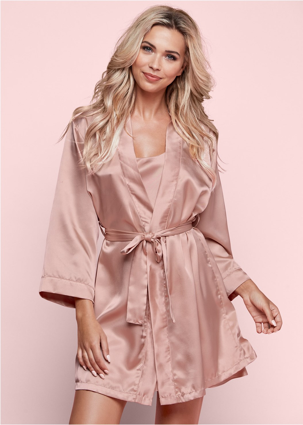 Luster Satin Robe,Luster Satin Slip,Embellished Strappy Heel