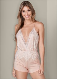 Front View Lace Detail Sleep Romper