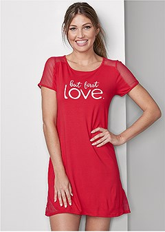 mesh inset sleep dress