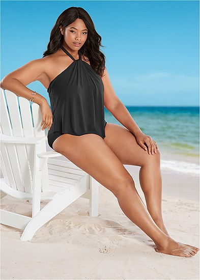 Plus Size High Neck Flounce One-Piece