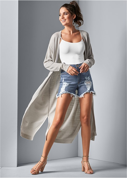 LONG CARDIGAN,SEAMLESS CAMI,DISTRESSED JEAN SHORTS,TRANSPARENT STUDDED HEELS,LUREX DETAIL SCARF