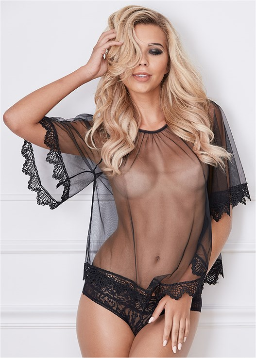 ac0e252880342 Black SHEER LACE CROP TOP from VENUS
