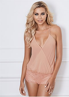 wrap top mesh lace romper