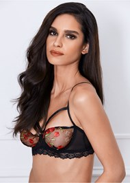 Front View Embroidered Unlined Bra