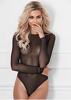 all mesh sheer bodysuit