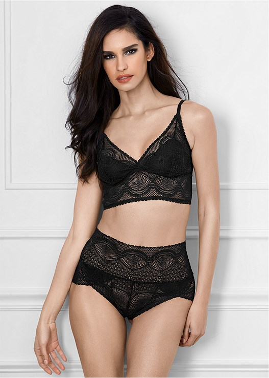 HIGH WAIST STRETCH BRIEF,LONGLINE LACE BRALETTE