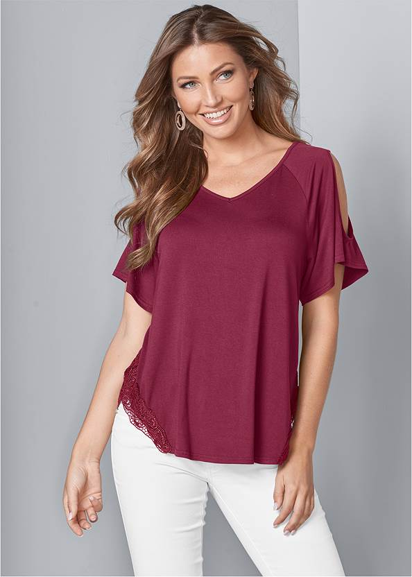 Front View Cold-Shoulder Top
