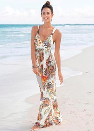 Front View Paisley Print Maxi Dress