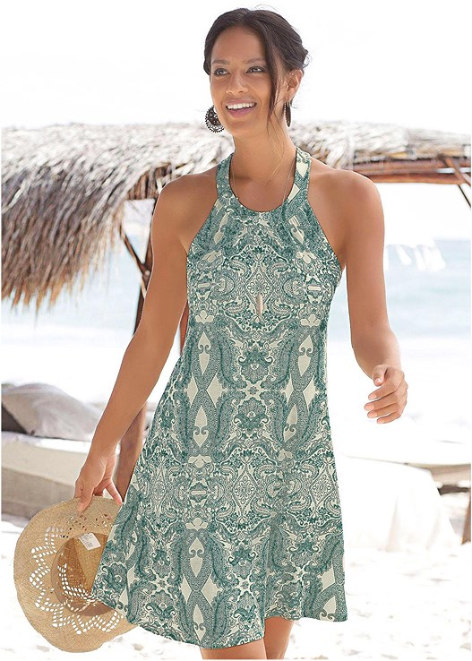 PRINTED CASUAL DRESS,STRAW FRINGE HAT,PALM TREE EARRINGS