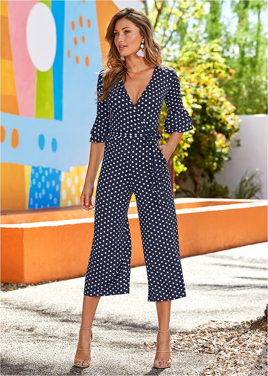 POLKA DOT JUMPSUIT,LONGLINE PUSH UP BRA,HIGH HEEL STRAPPY SANDALS,RAFFIA DETAIL HEELS,FRINGE DROP EARRINGS,LUCITE NECKLACE