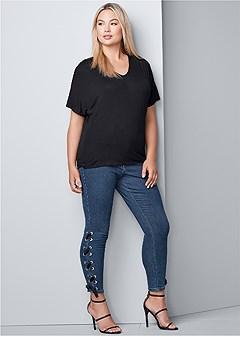 plus size lace up detail jeans