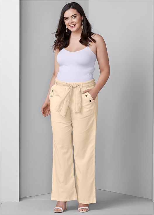 LINEN BELTED PANTS,COLOR BLOCK MULES,SEAMLESS CAMI