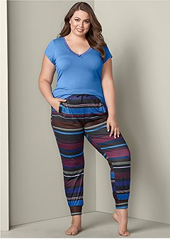 plus size printed jogger pant set