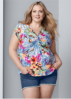 plus size plunging v-neck top