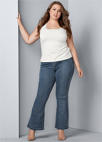 Plus Size Casual Bootcut Jeans