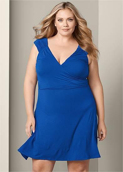 Plus Size Draped Front Dress